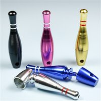 76mm bowling şişe Mini mermi stil metel filtre pipolar renkli pipo ağızlık küçük Fliter boruları