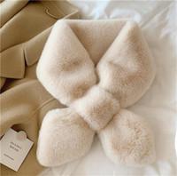 Classic imitation rex conejo pelo bufanda mujer 2021 invierno cálido peluche mullido cruz cuello pañuelo de moda color sólido piel piel ly12181
