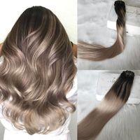 Balayage كليب في الشعر ملحقات اللون الأسود الطبيعي يتلاشى إلى الرماد شقراء أومبير تمديد لحمة مزدوجة 120 جرام