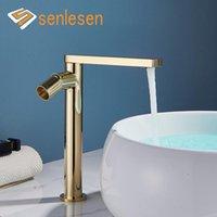 Torneiras do pia do banheiro SENLESEN Golden Basin Mixer torneira de torneira de torneira de latão montado e água fria B