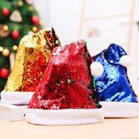 décorations de Noël double face morceau rabat perle couleur chapeau Sequin Noël tranche choix adulte bois chapeau de Noël T2I51564