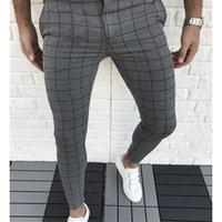 Fashion- 격자 무늬 패널로 디자이너 연필 바지 패션 천연 컬러 카프리 바지 캐주얼 스타일 남성 바지 남성 의류
