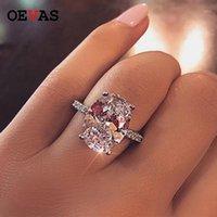 OEVAS CLASSIC 100% 925 Стерлингового серебра 9 CT Овал создал моисанит драгоценный камень Свадебное обручальное кольцо изысканные украшения подарок 1