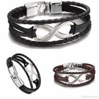 8 braccialetti di cuoio donne di fascino degli uomini dei braccialetti Bandage marca Mens Bracciali fortunato digitali