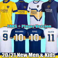 21 22 Boca Juniors camisa de futebol Fãs Player versão MARADONA TEVEZ DE ROSSI 2021 2022 casa fora 3º 4º camiseta futbol football shirt Kids Kits Uniformes