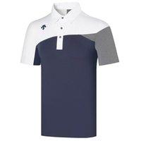 Maglietta da golf della nuova manica corta della primavera 3 colori dei vestiti degli uomini degli sport di colore del tempo libero S-XXL in scelte Spedizione gratuita
