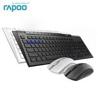 Mouse do teclado Combos RAPOU 8200M Multi-Mode Sem Fio Bluetooth 3.0 / 4.0 RF 2.4G Interruptor entre 3 dispositivos Conexão