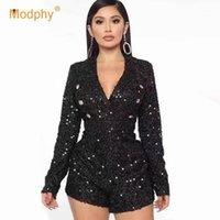 Tuta da donna Pagliaccetti Modphy 2021 Primavera Moda Donna Black Seaillum Tuta Tuta Sexy Club Party Collo con scollo a V BodyCon Tangsuit1