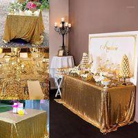 Altın Masa Örtüsü 90x132in Glitter Yuvarlak Dikdörtgen Işlemeli Pullu Masa Kapak Düğün Parti Noel Dekorasyon-RT100021