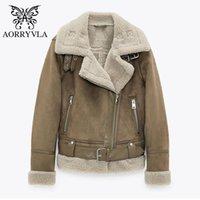 Aorryvla New Fashion замшевые овчины пальто для женщин зима 2020 полная рукава поворотный воротник из искусственной кожи ямбвуловая байкерская куртка