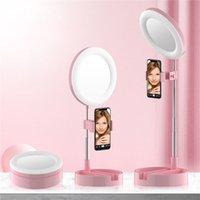 LED Vanity Mirror Lampe de lumière Maquillage Wallelfie pliable G3 Support de remplissage Dimmable Caméra Téléphone 6.3Inch Bague Vidéo Live Studio