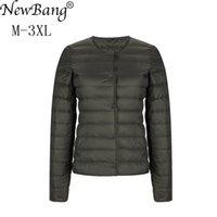 NewBang Matt Fabric Light Jacket Female Ultra Light Down Jacket Women Slim Windbreaker Without Collar Lightweight Warm Coat 201203