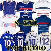 1998 France rétro 2002 Zidane Henry Soccer Jerseys 1996 2004 Football 1984 Chemise Trezeguet 1982 2006 Deschamps 2000 Pires Maillot de Footbal