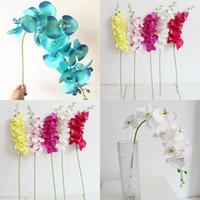 93cm Décorations de mariage Fleurs artificielles unique en plastique de fleurs en soie fibre de polyester Orchidée papillon Fleurs Accueil Party 4 9sm G2