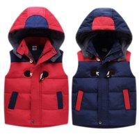 Benemaker Детский жилет для мальчика девушки зима теплая ветровка руно рукавов куртки Kid Одежда для подростков с капюшоном Жилет JH113 201110
