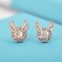 사슴 스터드 귀걸이 한국어 간단한 기질 엘크 귀걸이 여성 눈송이 지르콘 크리스마스 애틀러 세련된 귀걸이