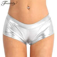 Donne adulte Freebily Fashion Sexy Night Club Shorts Shiny Faux Pelle Vita bassa Pantaloncini caldi per Dancing Raves Festivals Costumes1