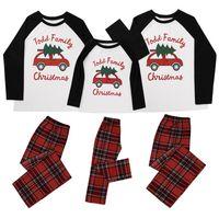 الوالد و الطفل عيد الميلاد الأسرة منامة تصميم عيد الميلاد مطابقة طويلة الأكمام قمم منقوشة السراويل قطعتين ملابس الكبار الاطفال الزي جديد E110203