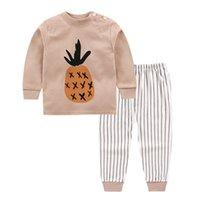 Saileroad cartoon piña impresa pijamas para niños niños rayado manga larga pijamas niño pijamas algodón bebé ropa de hogar ropa Y200704