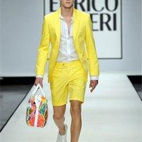 Moda Amarela Homens Verão Ternos Slim Fit Ternos De Casamento Festa Mens Prom Casual Ternos 2 Peças Jacket Calças Curtas Tuxo Suits W1217