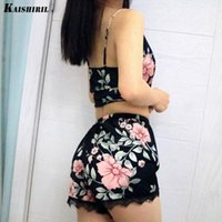 여성 섹시한 실크 파자마 세트 레이스 잠옷 여성 잠옷 섹시한 란제리 플로랄 나이트웨어 새틴 탑 반바지 잠옷 for1