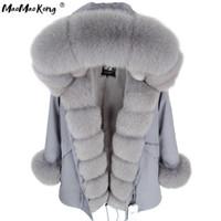 MAOMAOKONG Kış Kadın Gri Doğal Gerçek Fox Kürk Ceket Kapşonlu Kalın Sıcak Moda Gerçek Kürk Uzun Parkas Siyah Su Geçirmez 201105