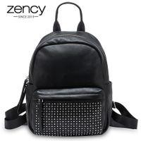 Zancy 100% in vera pelle moda donna zaino con rivetti di alta qualità lady borse di viaggio per la scolara da viaggio dello studente nero zaino nero