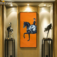 Классическая современная оранжевая лошадь гоночный холст печать роспись плакат крутые стены искусства настенные картинки для прихожи Большой размер домашний декор LJ200908