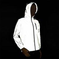 Rollsrari novo completo jaqueta reflexiva homens / mulheres harajuku windbreaker jaquetas com capuz hip-hop streetwear noite shiny casacos 122 201114