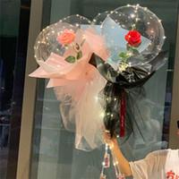 Aydınlık Balon Gül Buketi Şeffaf Kabarcık Büyülü Gül Bobo Topu 3 M LED Dize Sevgililer Günü Hediye Parti Düğün Dekor E121801