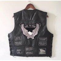 Bonjean Mens Aquila Black Genuine Pelle Gilet Moto Vestito per moto + allacciatura Bandiera US MC Sheepskin Sheepless Biker Giacche Grigio Patch Y201123