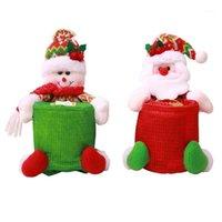Décorations de Noël XMAS Distributeur de boîte de mouchoirs de tissus Snowman Couverture de papier à bonhomme de neige Porte-colonie Porte-Nostilles Pouvoir Organisateur Festive Decor1