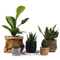 Storage Bags Flower Pots Mini Succulents Planter Pot Washable Kraft Paper Flowerpot Creative Desktop Reuseable Multifunction Home Bag
