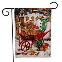 Bandera de la bandera del jardín de dos caras Impresión del muñeco de nieve Little Patrón de perro Banderas Estilo de Navidad Multi Colores Banner Nueva llegada 6kx L1