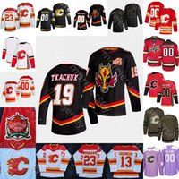 Özel 2021 Calgary Flames Buz Hokeyi Jersey Jacob Markstrom Rasmus Andersson Sam Bennett Louis Domingue Dube Hanifin Kylington Leivo Mackey