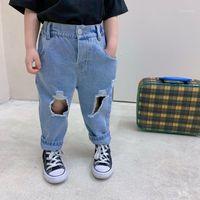 2021 Frühling Sommer Gebrochene Löcher Jeans Hosen Lose Mode Lässige Jungen Mädchen Jeans Übergroße Bottoms Jeans Für Mädchen Baby Kleidung1