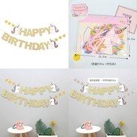 Pull Flag Детский день рождения Счастливое письмо баннер Баннер unicorn цветок, вытягивая флэш-порошок Falgs Baby один год Организация комнаты 3 88SH P1