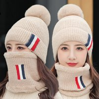 Winter Solid color plush hat collar two piece set Three bars thickened knitted hat Outdoor sports windproof warm hat Party Hats FF364
