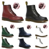 Sapatinho de Inverno Mens Moda Botas Doc Shoes Martin Trainers Sneakers Triplo Preto Branco Verde Red Blue Men Mulheres Motorcycle Bota Chaussures