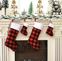 Christmas Stocking Red and Black Buffalo Plaid Fireplace Hanging Socks Storage Candy Bag Family Holiday Xmas Party Decoration LJJP679