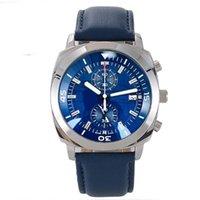 Montres Hommes Chronographe Quartz Mouvement Bleu Cadran Bloc-bracelet En Acier Inoxydable Montre Business Marque Militaire Sport Montres Reloj Hombre