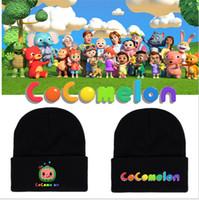 COCOMELON HATS HOMBRES HOMBRES CAPS HOMBRES MUJERES Dibujos animados de letras impresas Negro Punto Skull Cap Invierno Cálido Crochet Sombreros Deportes Cabeza Use G12307