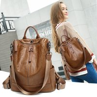 2020 Mochila Feminina Casual Multifunction Women Leather Bac...