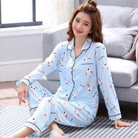 FOPLY mulheres sleepwear pijamas de algodão conjuntos de manga longa top + calças verão primavera bonito 2 peças pijama pj sets senhoras roupão de banho y200425