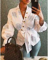 Yeni Bayan Düğmesi V Yaka Mektup Baskı Gömlek Lace Up Bayanlar Tek Göğüslü Sonbahar Fener Kol Gevşek Tops Bluz1