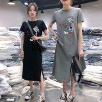 Повседневные платья uniimirry с коротким рукавом корейские женщины платье графический печать футболка девушка черная o шеи тонкий verano verano 20211
