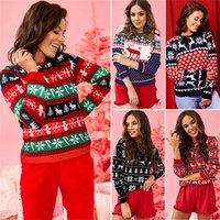 2020 Noel Kazak Tişörtlü Kadınlar Laddies Elk Kar taneleri Kalpler Uzun Kol Hoodie Gömlek Tişörtü Noel Partisi Giyim E101902 yazdır
