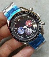 Mens Speate скорость 44 мм большой циферблат Sapphire Crystal Professional Chronograph Движение 316L ремешок из нержавеющей стали водонепроницаемые наручные часы