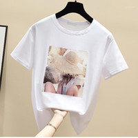 T Shirt per le donne Camisetas Mujer T-Shirt Grafica Damskie Black Cotton Cotone Coreano Vestiti estetici Estate Tee Shirts Femme1