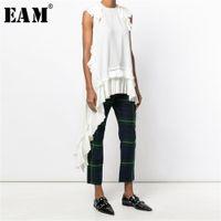 [EAM] Новый весенний летом круглые шеи без рукавов черное нерегулярное слабые сплавленные сыпучие рубашки женские блузка мода прилив LJ200812